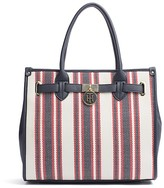 Tommy Hilfiger Stripe Canvas And Saffiano Tote
