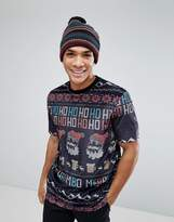 Asos Christmas Relaxed T-Shirt In Velour With All Over Fairisle Print