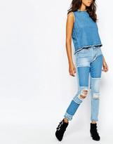 Liquor & Poker Slim Mom Jeans With Raw Edge Detail