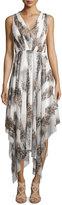 Catherine Malandrino Sleeveless V-Neck Cheetah-Print Handkerchief Dress, White Combo