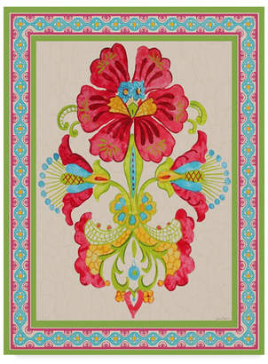 """Jean Plout 'Fiesta Floral Tapestry 3' Canvas Art - 24"""" x 32"""""""