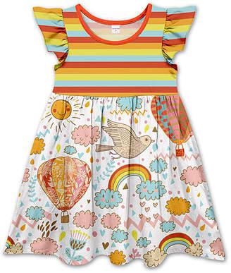 Penelope Plumm Girls' Casual Dresses - Red & White Rainbow Stripe Hot-Air Balloons Angel-Sleeve Dress - Toddler & Girls