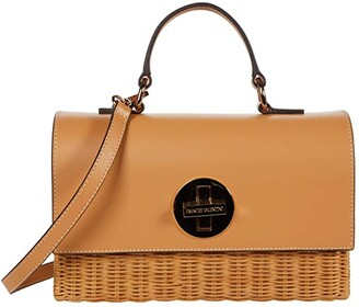 Frances Valentine Bess Wicker Basket Top-Handle Satchel w/ Crossbody Strap (Natural/Natural) Satchel Handbags