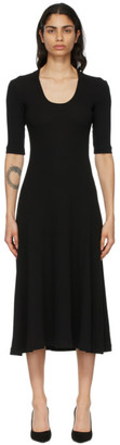 Rosetta Getty Black Cropped Sleeve U-Neck T-Shirt Dress