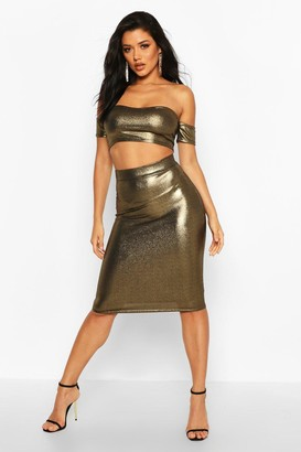 boohoo Metallic Bodycon Midi Skirt