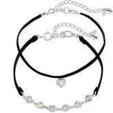 Juicy Couture Black Faux Suede Choker Necklace Set