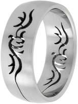 Sabrina Silver Surgical Steel Domed 8mm Band Ring Tribal Cut-out Design, size 10