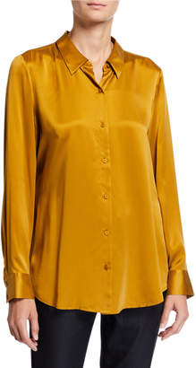 Eileen Fisher Plus Size Sandwash Silk Button-Front Long-Sleeve Shirt