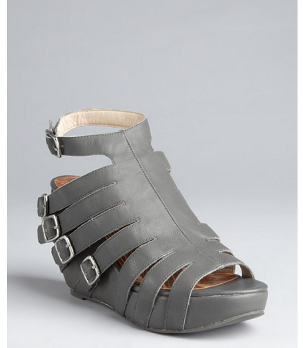 Matiko cement leather buckle strapped 'Julie' wedge sandals