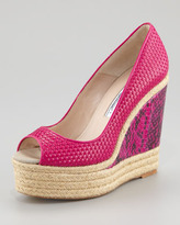Brian Atwood Cailey Leather Espadrille Snake-Wedge Pump