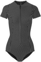 Lisa Marie Fernandez Farrah Polka-dot Bonded Swimsuit - Black