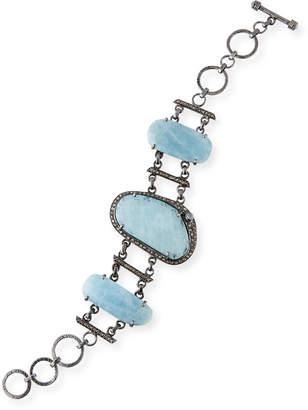 Bavna 3-Aquamarine Bracelet w/ Diamonds