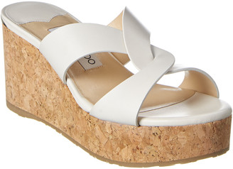 Jimmy Choo Atia 75 Leather Platform Wedge Sandal