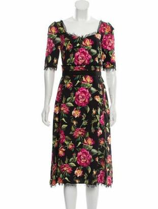 Dolce & Gabbana Short Sleeve Midi Dress Black