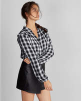 Express plaid ruffle shoulder shirt