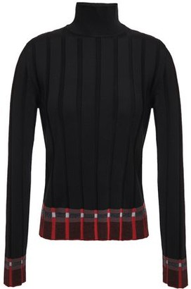 Marni Intarsia-trimmed Ribbed-knit Turtleneck Sweater