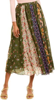 Farm Rio Mixed Liberty Silk-Blend Maxi Skirt
