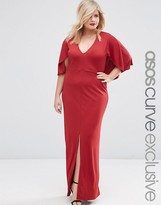 Asos Maxi Dress in Crepe with Cape Sleeve