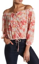 En Creme Floral Off the Shoulder Blouse