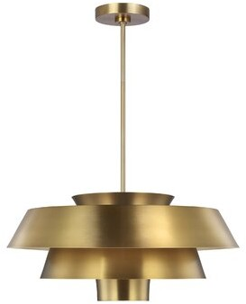 ED Ellen DeGeneres crafted by Generation Lighting Brisbin 1-Light Unique / Statement Tiered Pendant Finish: Burnished Brass