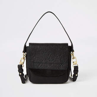 River Island Black leather embossed mini cross body bag