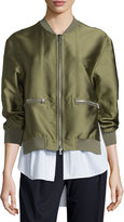 3.1 Phillip Lim Ribbed-Trim Satin Bomber Jacket, Everglade