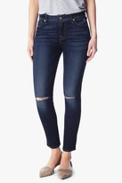 7 For All Mankind Ankle Skinny With Knee Holes In Mykonos Dark Indigo