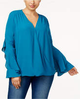 INC International Concepts Anna Sui Loves I.n.c. Plus Size Ruffled-Sleeve Blouse, Created for Macy's