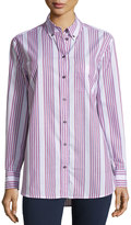 Equipment Margaux Striped Patterned Cotton Blouse, Bright White Multi