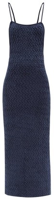 Jacquemus Scoop-back Knitted Velvet-cloque Dress - Navy