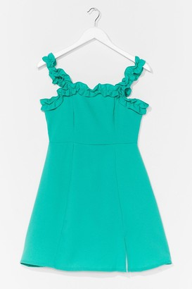 Nasty Gal Womens Hit Ruffle Square Neck A-Line Dress - Bright Green