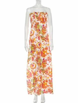 Caroline Constas Floral Print Long Dress w/ Tags White