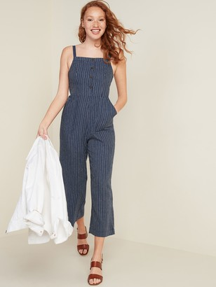 Old Navy Button-Front Linen-Blend Striped Cami Jumpsuit for Women