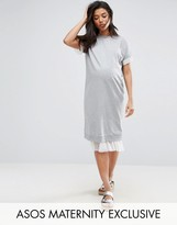 Asos Spot Mesh Insert Sweat Dress