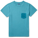 Blue Blue Japan Slim-Fit Velour-Trimmed Cotton-Jersey T-Shirt
