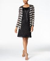 Jessica Howard Metallic Necklace Dress and Draped Jacket