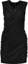 Balmain Lace-up ruched jersey mini dress