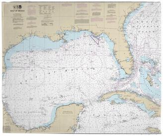 Island Girl Home, Inc. Gulf Of Mexico Nautical Chart Fleece Throw Blanket