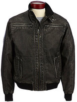 Murano Distressed Faux-Leather Bomber Jacket