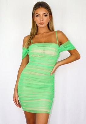 Missguided Green Mesh Ruched Bardot Mini Dress