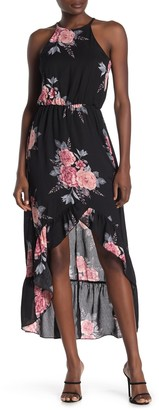 Max & Ash Floral Halter Neck High/Low Maxi Dress