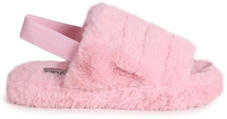 Linzi COMFY - Pink Fluffy Slingback Slippers With Platform Sole