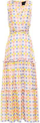 Paper London Zoe Tiered Gingham Silk-twill Maxi Dress