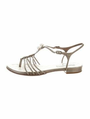 Chanel Interlocking CC Logo Leather T-Strap Sandals Grey