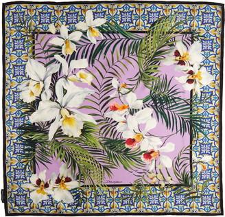 Dolce & Gabbana Orchid & Maiolica Print Silk Scarf