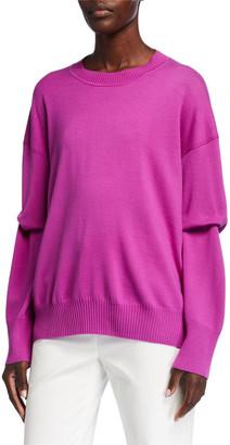 St. John Extra Fine Merino Wool Knit Crewneck Sweater