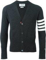 Thom Browne V-Neck Cardigan With 4-Bar Stripe In Dark Grey Cashmere