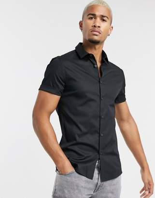 Asos Design DESIGN poplin skinny shirt in black with short sleeves