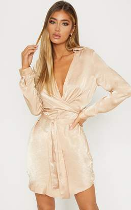 PrettyLittleThing Champagne Satin Wrap Shift Dress