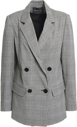 Nicholas Double-breasted Prince Of Wales Checked Woven Blazer